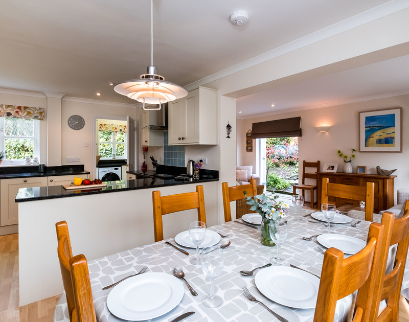 Open, airy dining in the living space at Brea, a self catering holiday house in Rock,Cornwall.