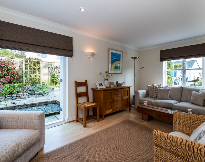 The open plan living room at Brea is comfortable and welcoming for family holidays by the north Cornwall coast