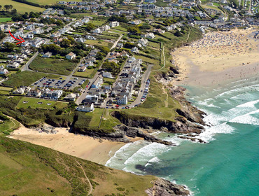 An aerial view showing the location of 3, Pentire Rocks, a well positioned holiday house to rent in beautiful,unspolit New Polzeath on the North Cornish Coast.