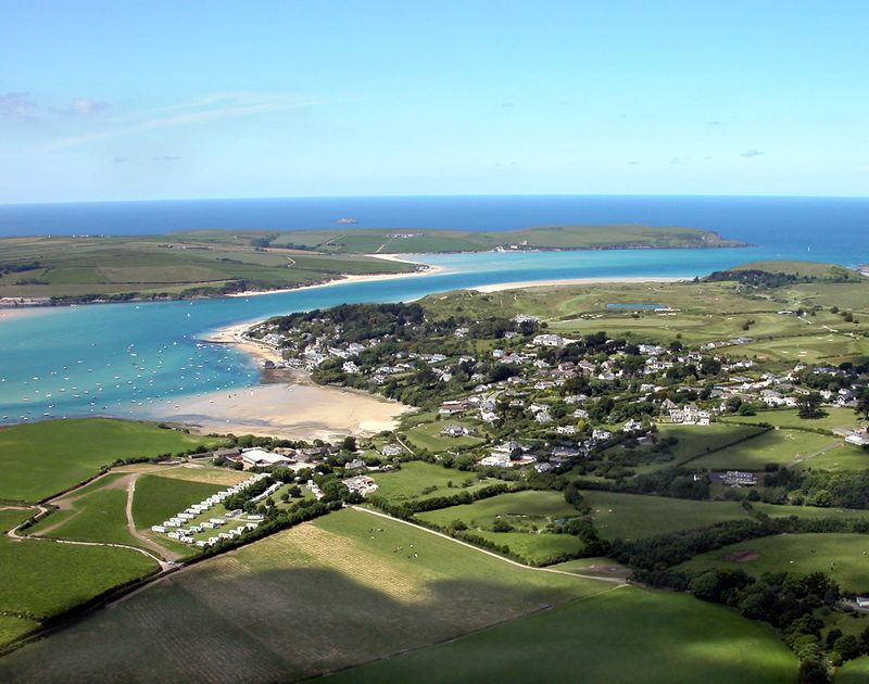 An aerial image of Rock village on the Camel Estuary with beaches, shops and restaurants in North Cornwall.