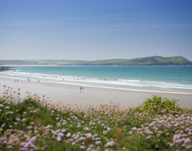 Polzeath beach is just a short walk from The Holiday House in North Cornwall.