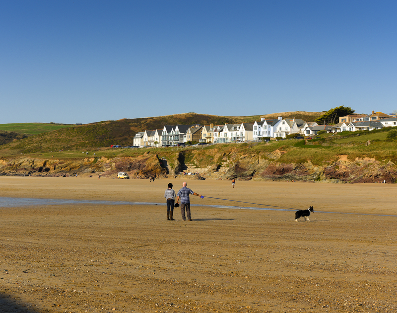 Polzeath beach in North Cornwall is perfect to walk your dog and enjoy the sunshine.