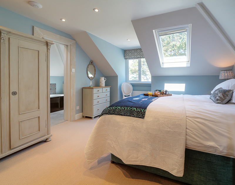 The master bedroom with ensuite at Trevanion in Rock, North Cornwall.