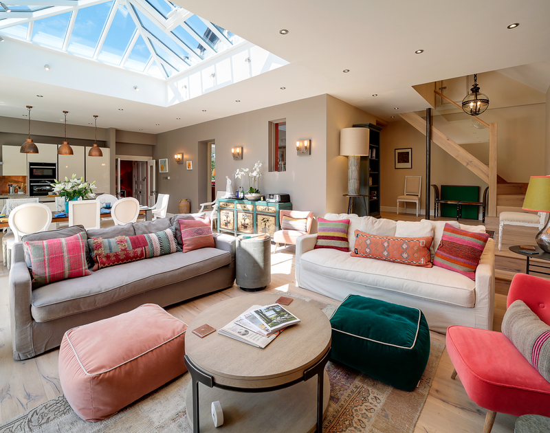 The light and spacious open plan living / dining area at Trevanion in Rock, North Cornwall.