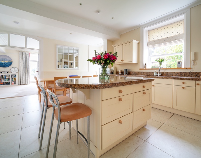 The light filled kitchen at The Haven holiday home in Daymer Bay on the North Cornwall coast.