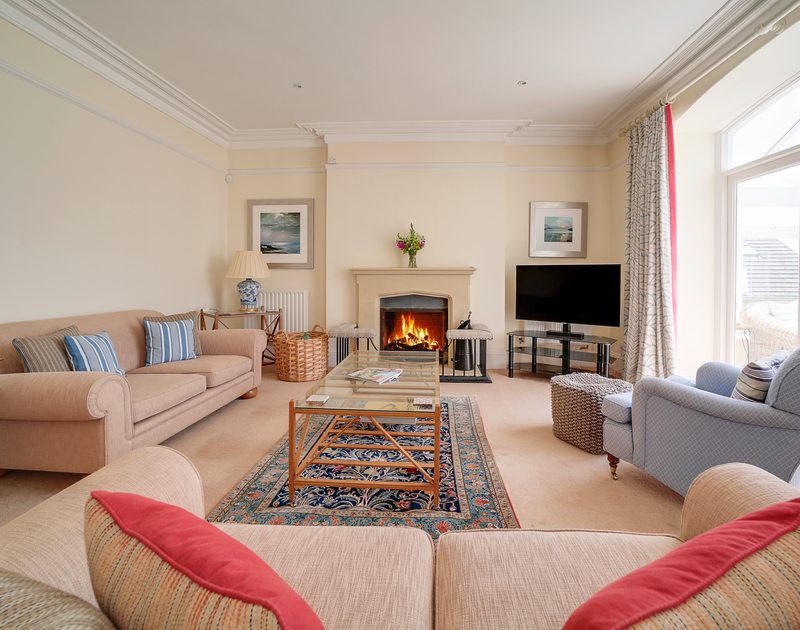 The open plan living and dining area at The Haven holiday home in Daymer Bay.