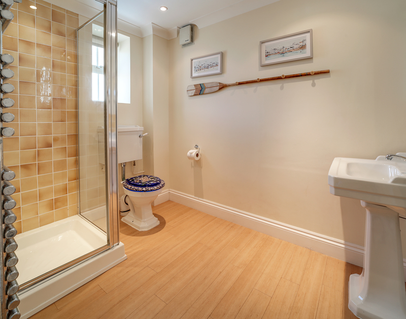 The shower room at The Haven holiday home in Daymer Bay.