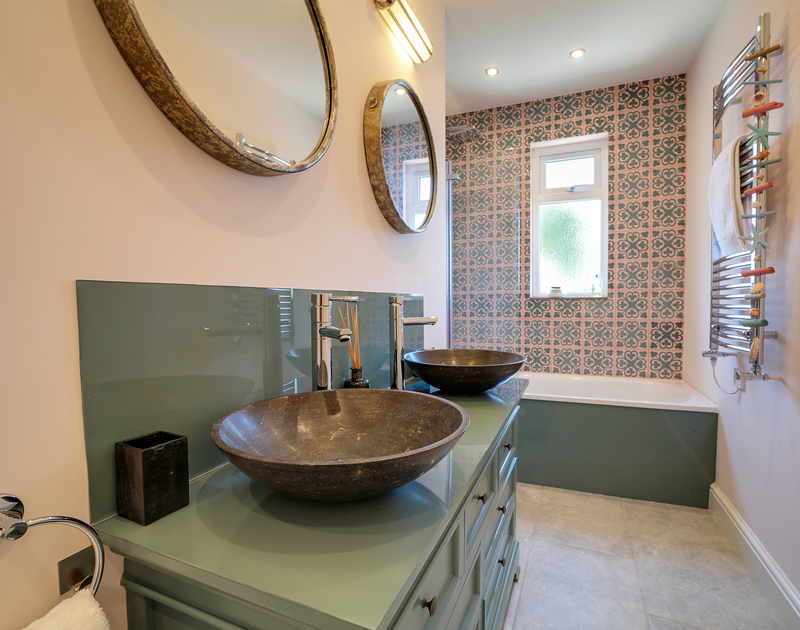 The ensuite bathroom in the king size bedroom at Trevanion in Rock on the north Cornwall coast.