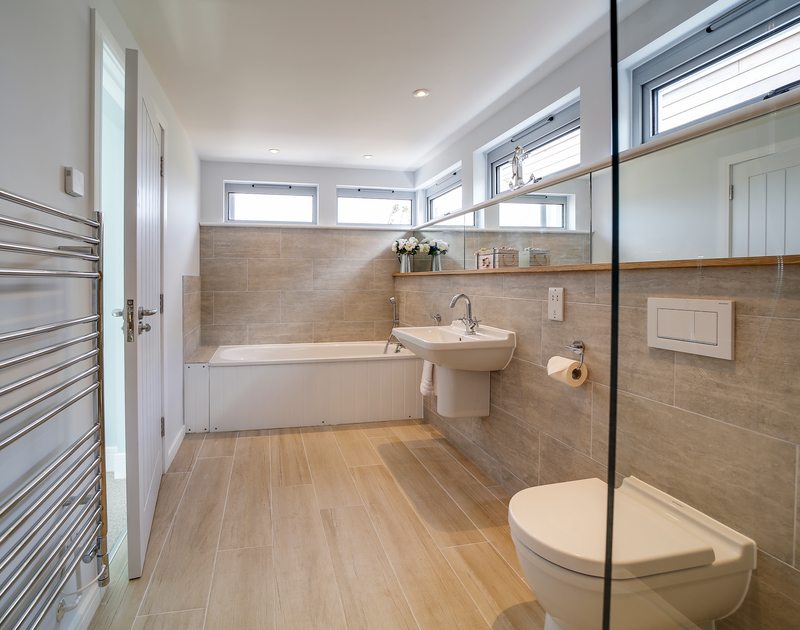 The stylish family bathroom at Morwenna self catering holiday home in Daymer Bay, Rock.