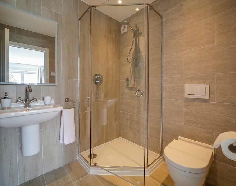 The shower room ensuite at Morwenna self catering holiday home in Daymer Bay.