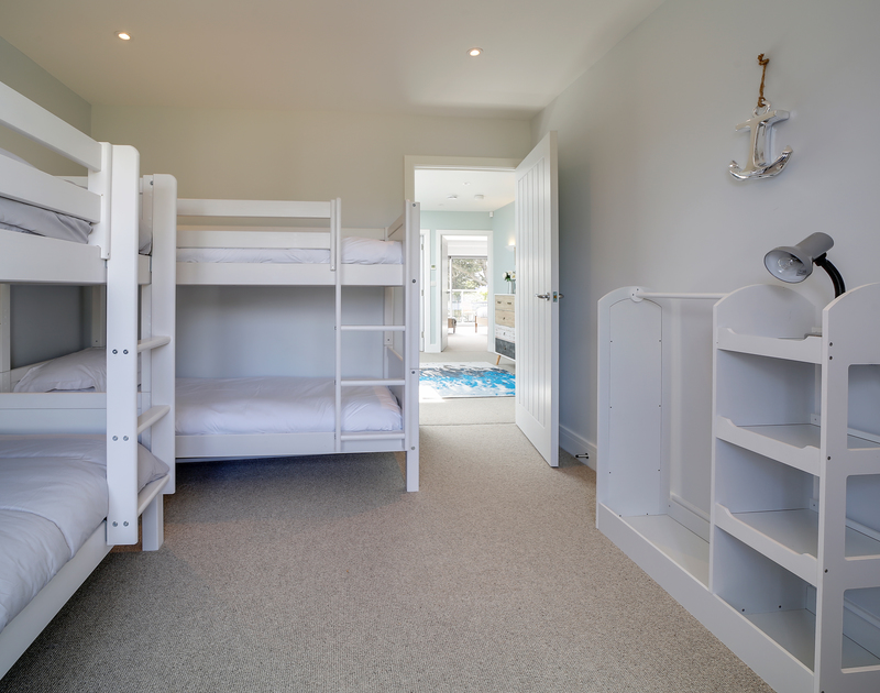 The bunk bed bedroom at Morwenna holiday home in Daymer Bay North Cornwall.