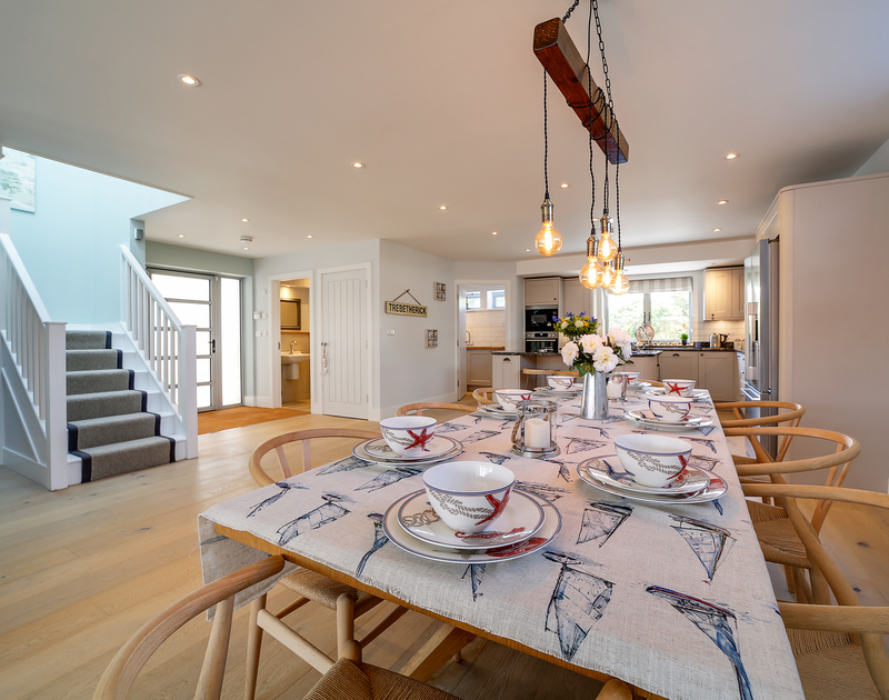 The open plan kitchen, living, dining room at Morwenna self catering holiday home Daymer Bay.