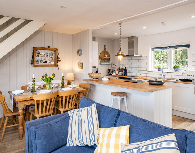 The well-equipped kitchen at 3 Dolphin Cottages self catering holiday cottage in Port Isaac.