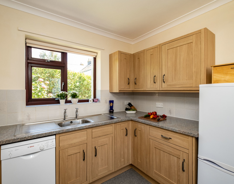 The well-equipped kitchen at Penventon self catering cottage in Port Isaac, North Cornwall.