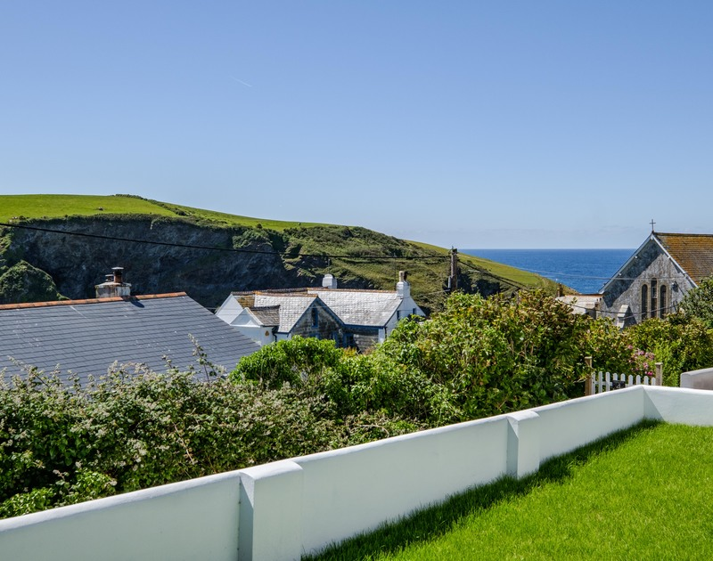 The beautiful sea view over Port Isaac harbour at Penventon self catering holiday home on the North Cornwall.