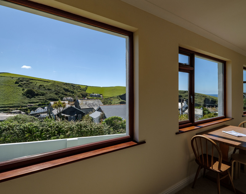 The stunning views from the sunroom at Penventon holiday cottage in Port Isaac, North Cornwall.