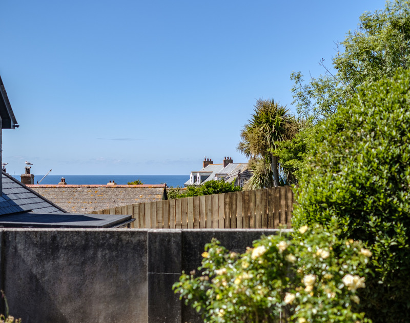 The sea views from the back garden at Penventon holiday home in Port Isaac, Cornwall.