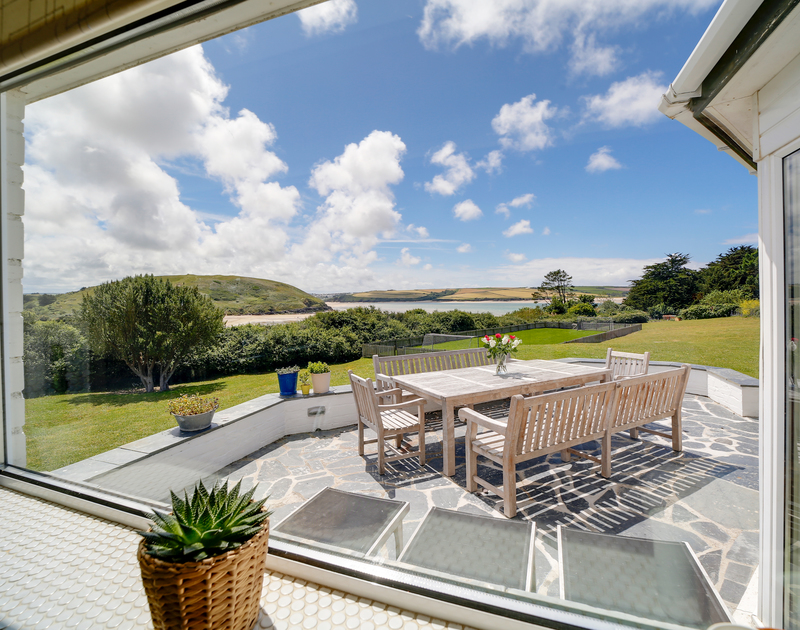 The kitchen window view at Sandy Lodge holiday home in Daymer Bay.