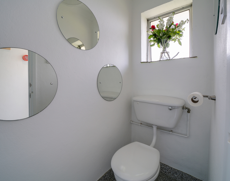 The downstairs bathroom at Sandy Lodge holiday home Daymer Bay on the north Cornwall coast.