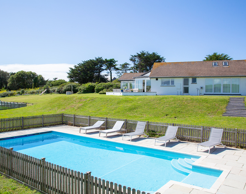 The large pool at Sandy Lodge holiday home in Daymer Bay North Cornwall.