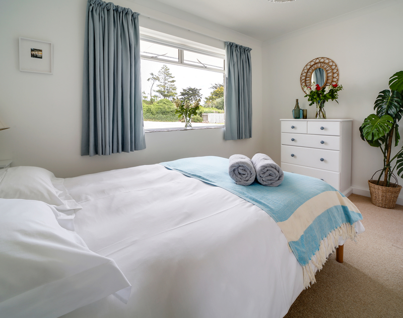 The bedroom in Sandy Lodge holiday home in Daymer Bay, north Cornwall.