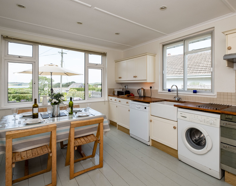 The well-equipped kitchen at Croft Elms self catering holiday home in Daymer Bay, North Cornwall.
