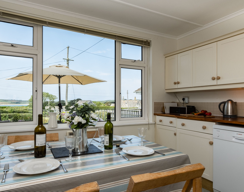 The lovely view from the kitchen and dining room at Croft Elms self catering holiday home in Daymer Bay, North Cornwall.