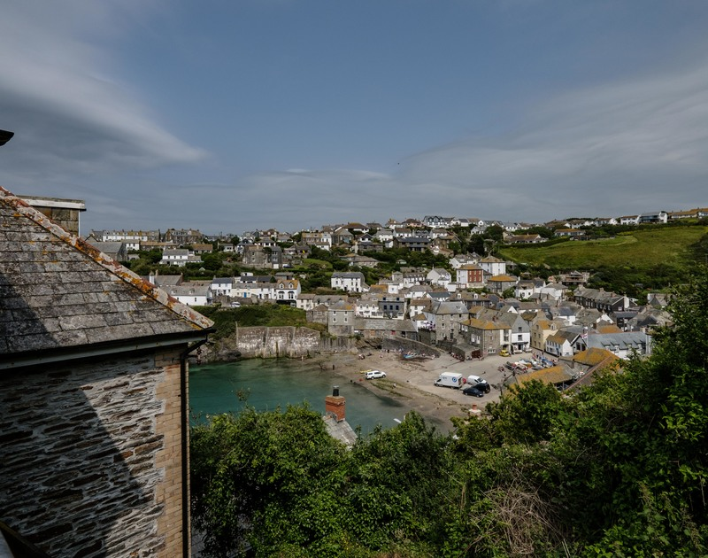 The harbour views from the back patio at Folly 1 self catering holiday home in Port Isaac.