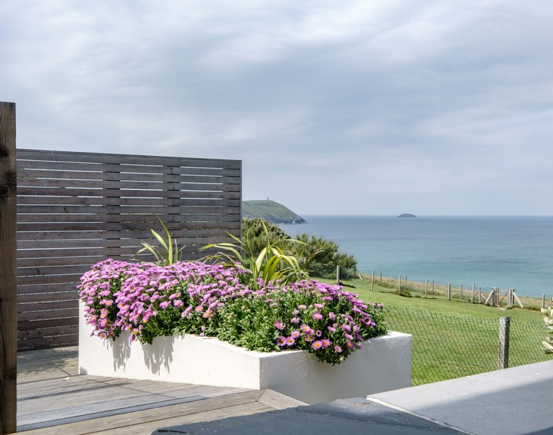 The sea views from Treleven Cottage self catering holiday home in Polzeath, North Cornwall.