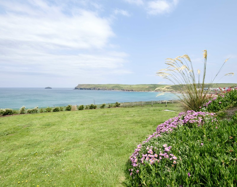 The sea views from the garden at Treleven Cottage, Polzeath, North Cornwall.