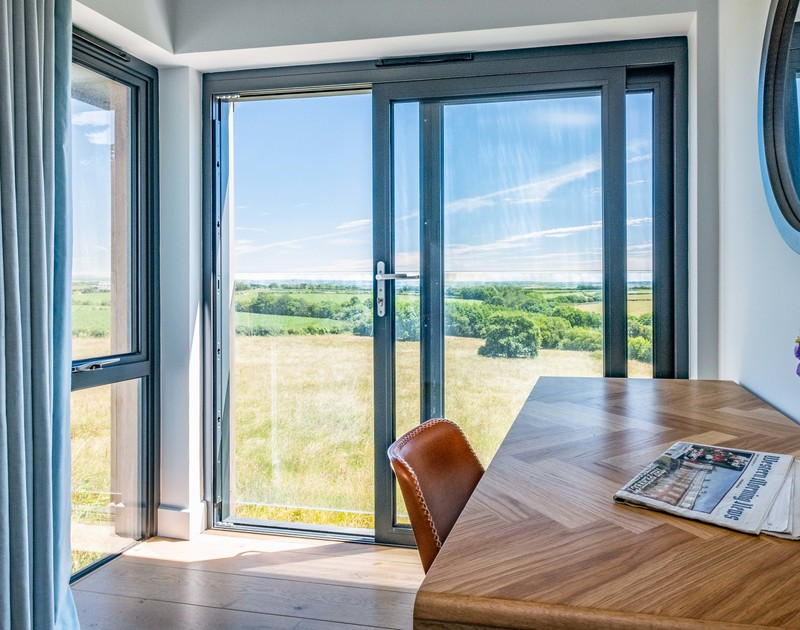 The view from the double bedroom with Juliet balcony at Tor View St Minver, North Cornwall.