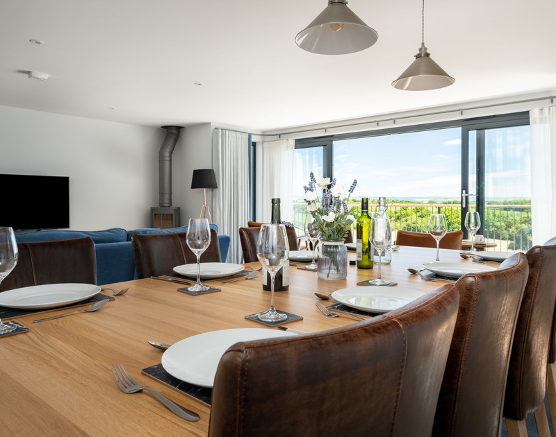 The stylish dining room table at Tor View, St Minver in North Cornwall.