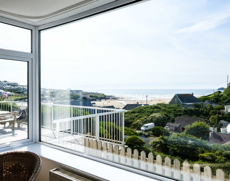 The lovely large windows with amazing sea views from Balderstone self catering holiday home in Polzeath