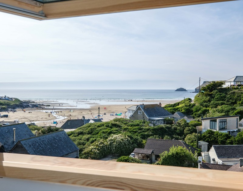 Elevated views over Polzeath beach at Balderstone self catering holiday home in Polzeath.