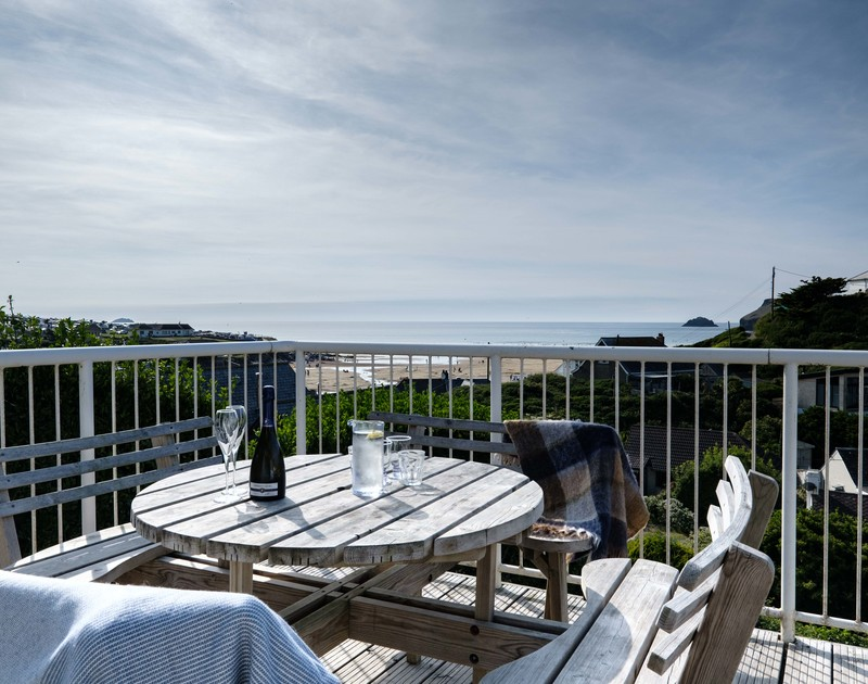 The sea views from the elevated deck at Balderstone self catering holiday home, Polzeath, North Cornwall.