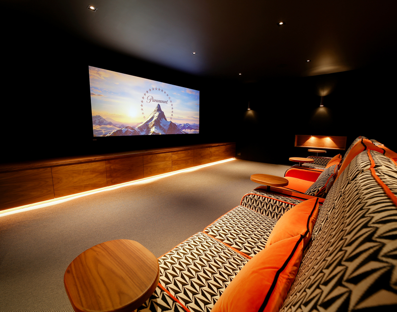The cinema room at Tresithney self catering holiday home in Rock, North Cornwall.