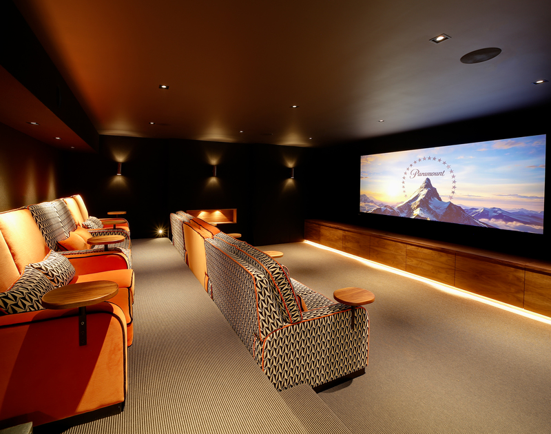 The cinema room at Tresithany self catering holiday home in North Cornwall.