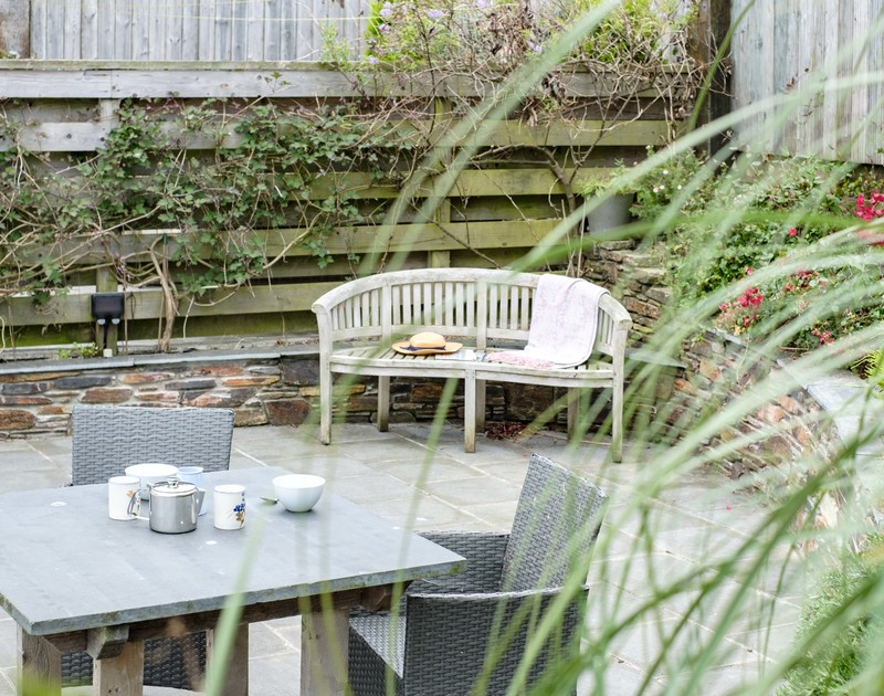 The outside seating area at The Hideaway in Port Isaac in North Cornwall.