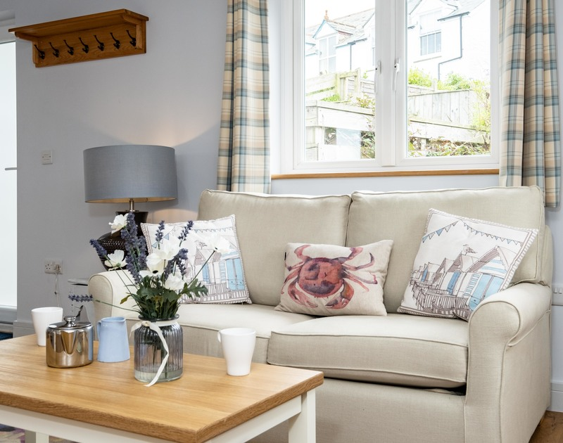 The comfortable furnishings at The Hideaway self catering holiday home in Port Isaac in North Cornwall.