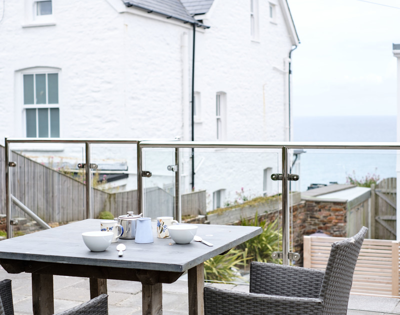 The view from the raised patio at The Hideaway self catering holiday home in Port Isaac in North Cornwall.