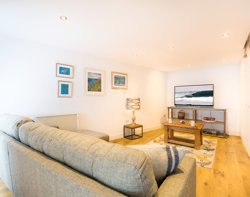 The TV room at The Lawns self catering holiday home in Port Isaac in North Cornwall.