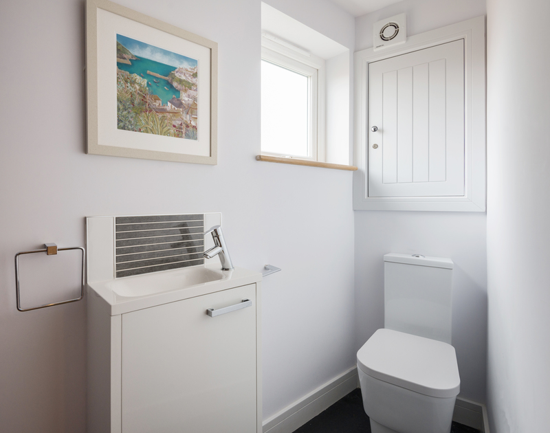 The bathroom in the utility room at The Lawns self catering holiday home in Port Isaac in North Cornwall.
