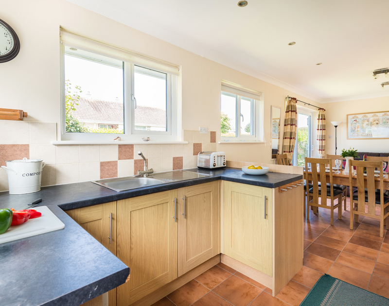 The light filled kitchen at Chimings self catering pet-friendly holiday home in Rock, North Cornwall.