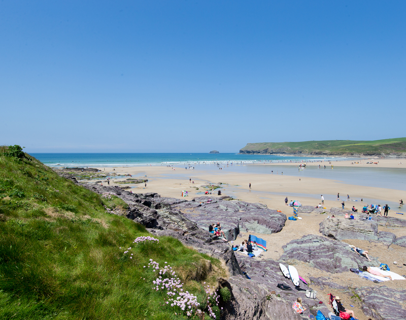 Polzeath beach, a few minutes walk from The Beach Hut self catering pet friendly holiday home in Polzeath, North Cornwall.