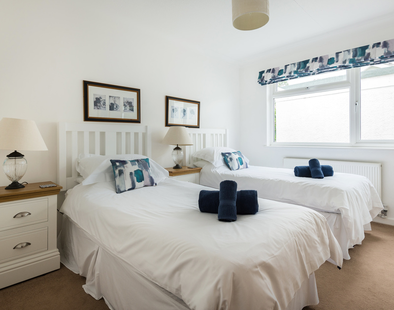 The twin bedroom at Tremay self catering holiday home in Rock, North Cornwall.