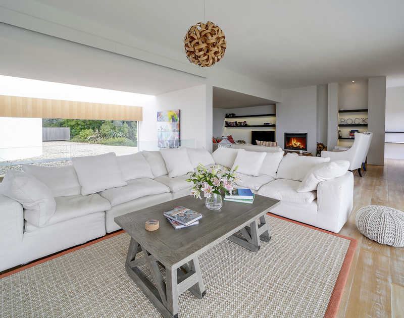 The stylish living room at Tresithney self catering holiday home in Rock, North Cornwall.