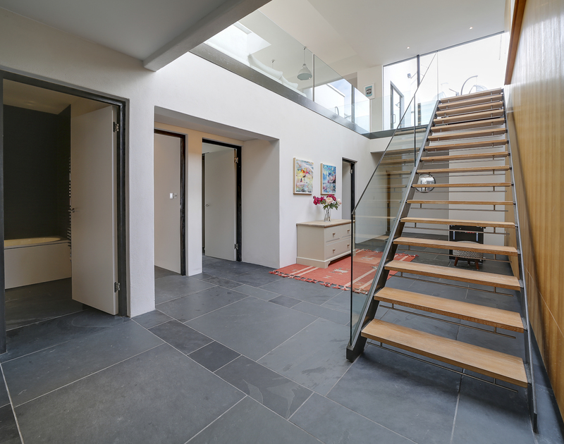 The downstairs area leading to the bedrooms at Tresithney self catering holiday home in Rock, North Cornwall.