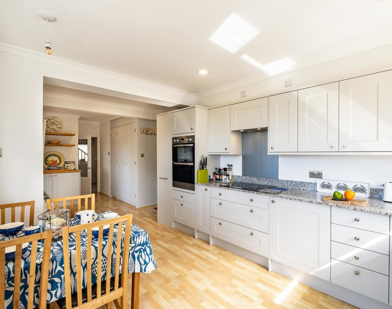 The modern kitchen at Bay View Cottage self catering holiday home in Daymer Bay, North Cornwall.