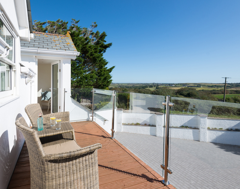 The balcony off the master bedroom and double bedroom at The Chalet self catering holiday home in Polzeath, North Cornwall.