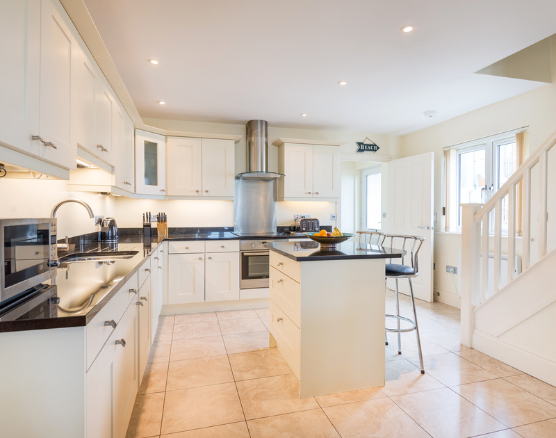 The light filled kitchen at Sea Gem self catering holiday home in Port Isaac, North Cornwall.